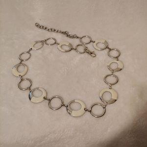 Metal cream round chain belt clasp 39 inch vintage